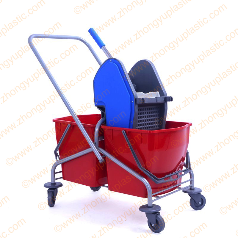 40L Double Mop Bucket Trolley Steel Frame
